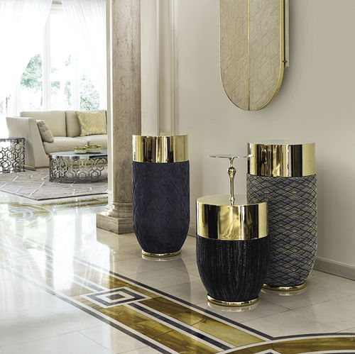 contemporary side table / metal / leather / fiberglass