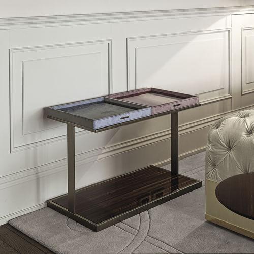 contemporary side table / walnut / ebony / metal