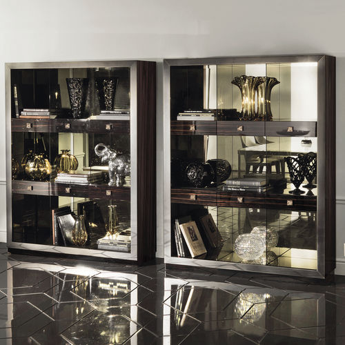 contemporary display case / glass / wooden