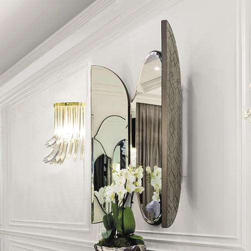 wall-mounted mirror / contemporary / oval / metal