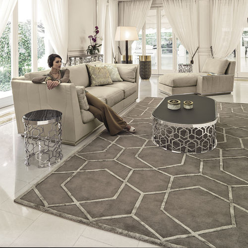 contemporary rug / geometric pattern / wool / silk