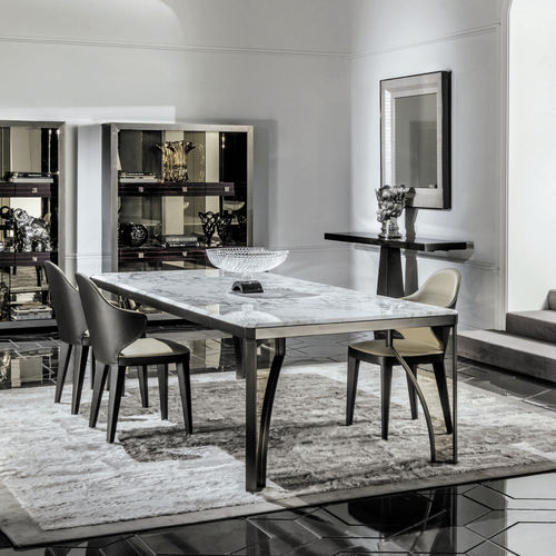 contemporary table / glass / metal / marble