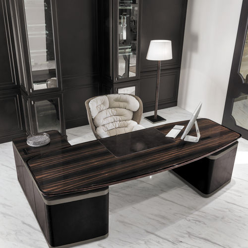 walnut desk / solid wood / ebony / leather