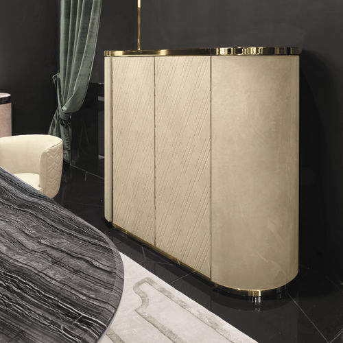 contemporary bar cabinet / metal / leather / illuminated