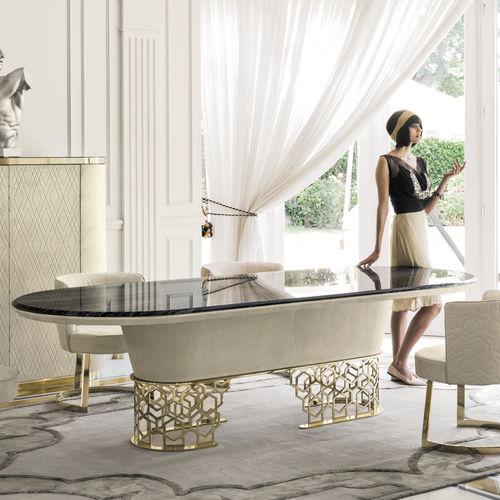 contemporary dining table / walnut / ebony / metal