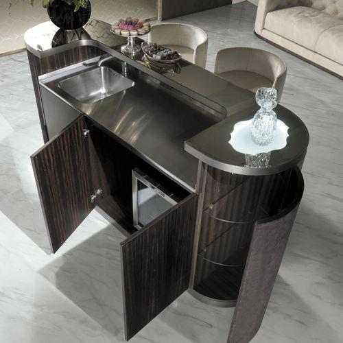 contemporary bar cabinet / walnut / ebony / metal