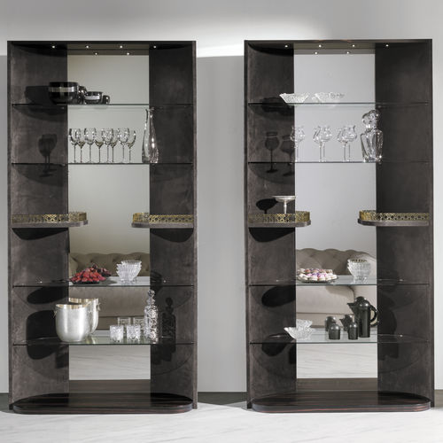 contemporary display case / glass / wooden / leather