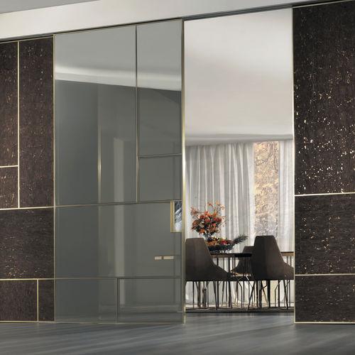indoor door / sliding / wooden / glass