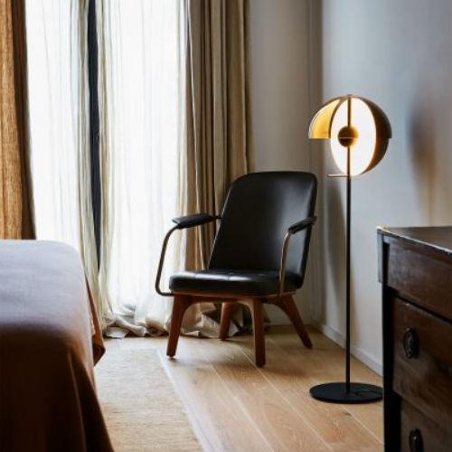 floor-standing lamp / contemporary / iron / lacquered aluminum