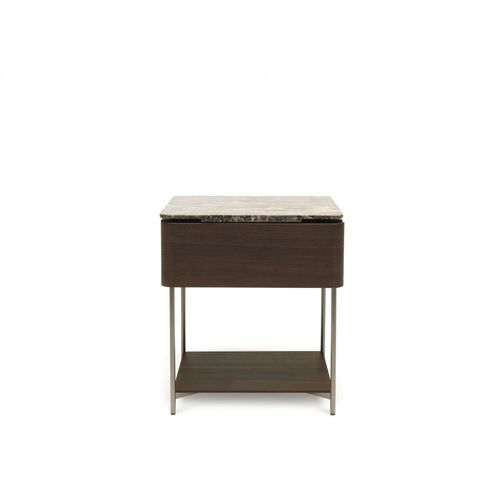 contemporary bedside table / wooden / metal / marble