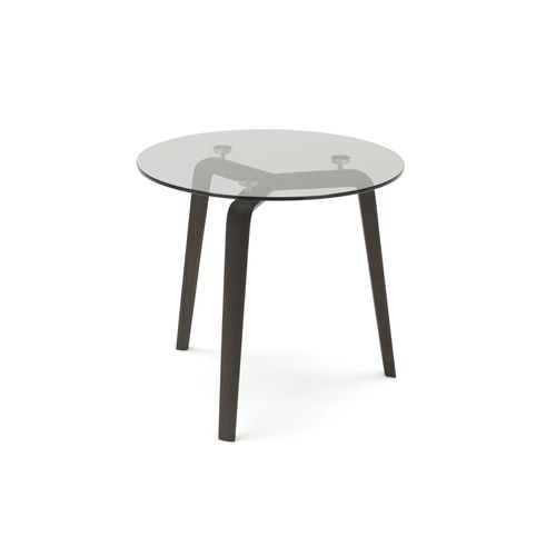 contemporary side table / oak / lacquered wood / steel