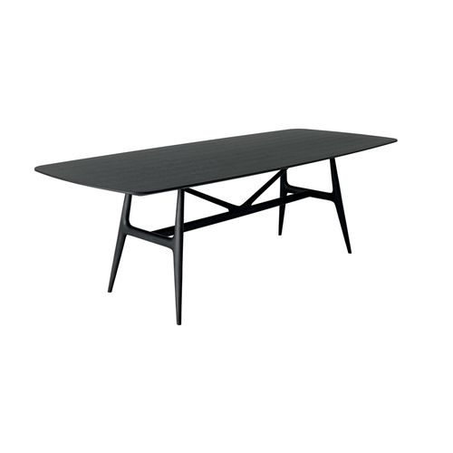 Scandinavian design table / solid wood / stained wood / rectangular