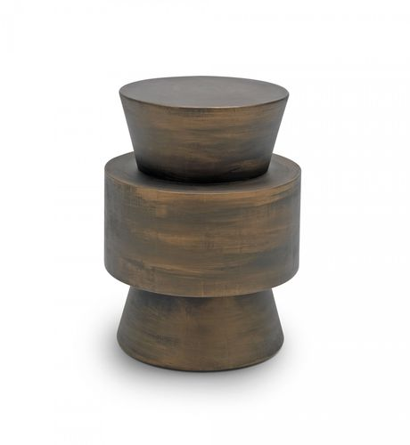 contemporary side table / solid wood / lacquered wood / round