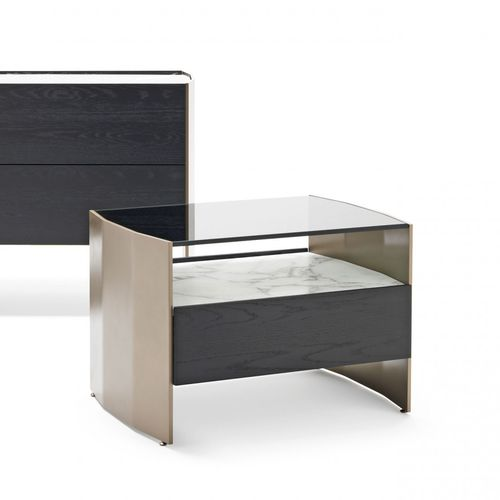 contemporary bedside table / wooden / metal / glass