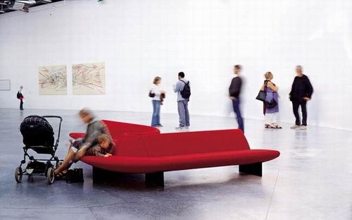 Modular upholstered bench / contemporary / fabric / commercial SERPENTINE MOROSO