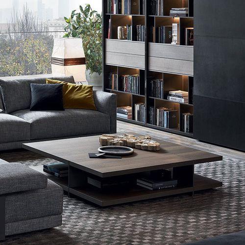 contemporary coffee table / wood veneer / aluminum / marble