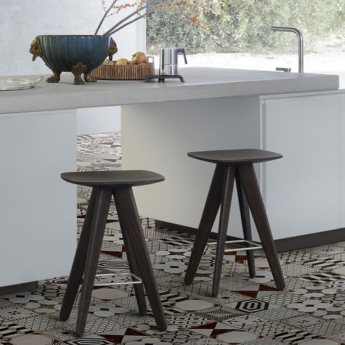 contemporary stool / solid wood / plywood / stainless steel