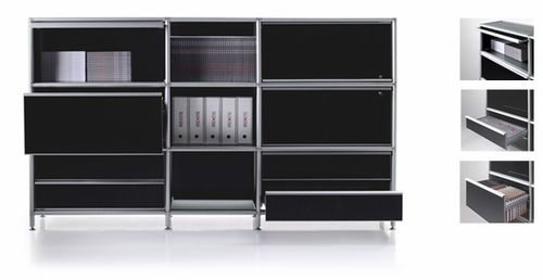 low filing cabinet / aluminum / contemporary