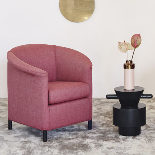 Contemporary armchair / leather / with footrest / black - AURA by ...