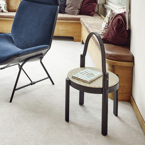 contemporary side table / leather / round