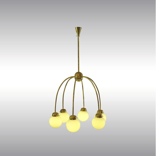 traditional chandelier / glass / brass / LED