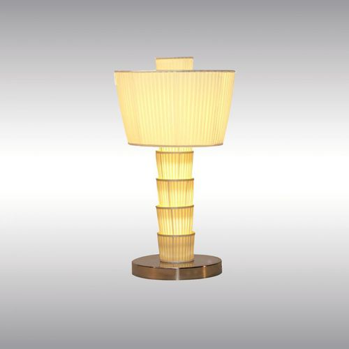 table lamp / traditional / brass / silk