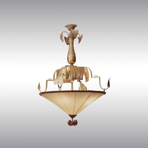 traditional ceiling light / brass / silk / LED
