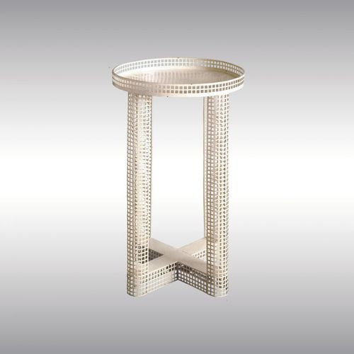traditional side table / iron / round / commercial