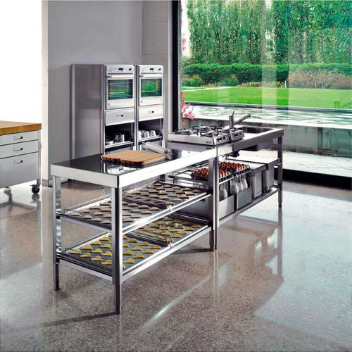 contemporary kitchen / stainless steel / island / with integrated handle