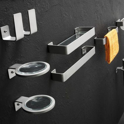 1-bar towel rack / wall-mounted / steel