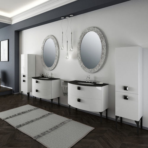 free-standing washbasin cabinet / lacquered wood / traditional / with mirror