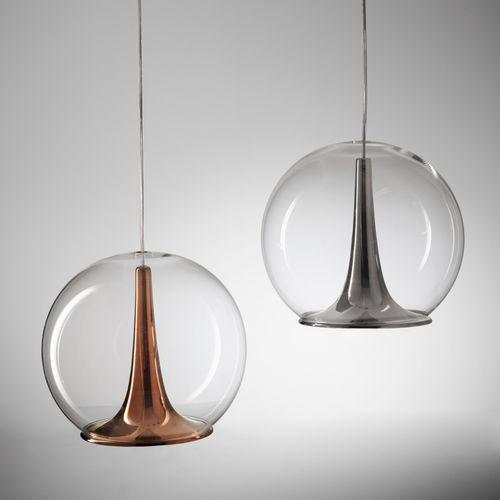 pendant lamp / contemporary / blown glass / ceramic