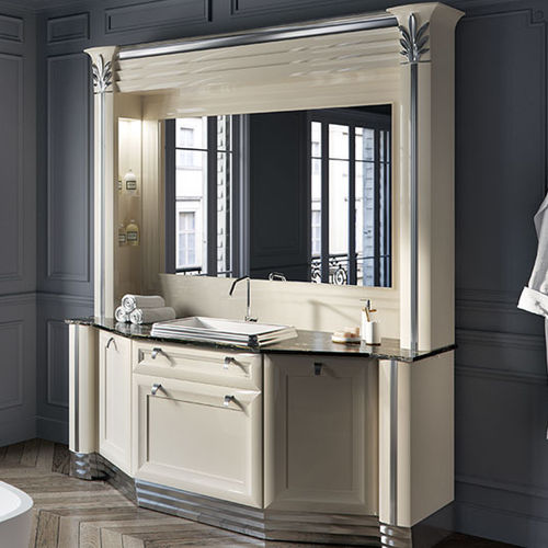 free-standing washbasin cabinet / wooden / glass / traditional