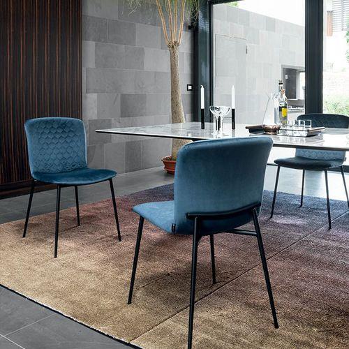 contemporary chair / upholstered / velvet / metal