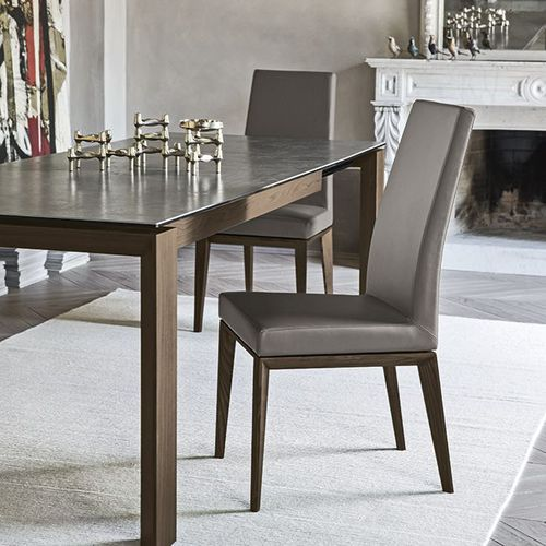 contemporary chair / with armrests / upholstered / high-back