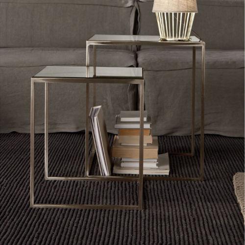contemporary side table / iron / rectangular