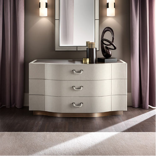 contemporary chest of drawers / leather / metal / glass