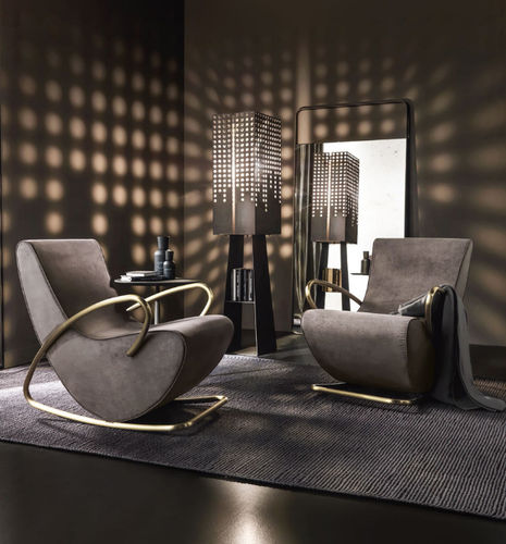 contemporary armchair / fabric / leather / iron