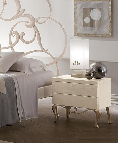 traditional bedside table / iron / curved / extending