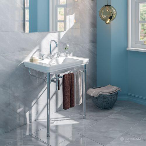 wall-mounted washbasin / rectangular / ceramic / metal