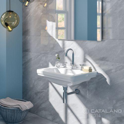 wall-mounted washbasin / rectangular / ceramic / contemporary