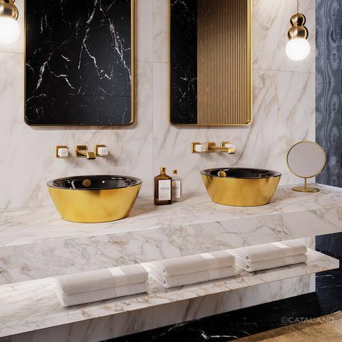 double washbasin / countertop / round / ceramic