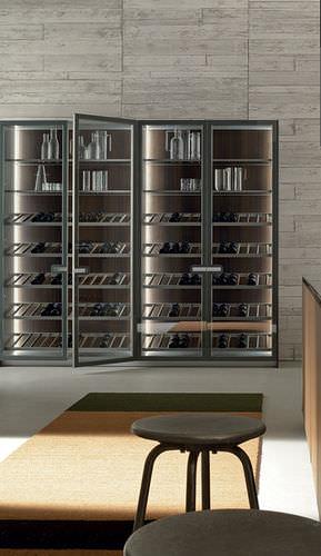 commercial wine cabinet / built-in / aluminum / glazed