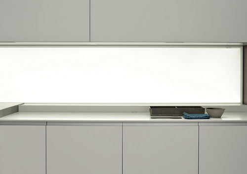 glass decorative panel / wall-mounted / lacquered / LED