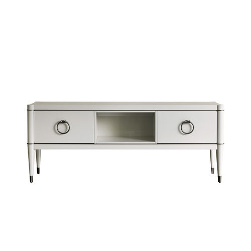 traditional TV cabinet / lacquered wood / solid wood / synthetic leather