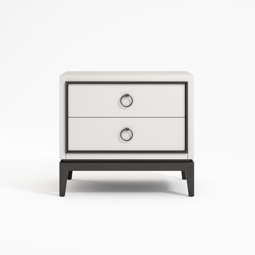 contemporary bedside table / lacquered wood / solid wood / wood veneer