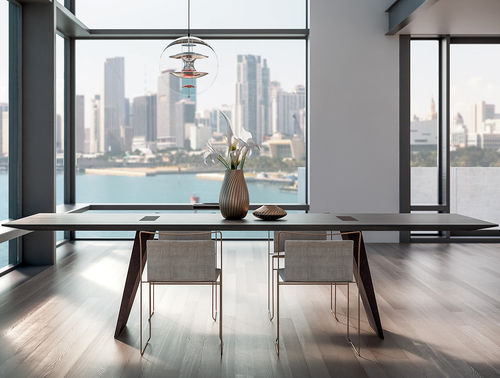 contemporary dining table / solid wood / rectangular