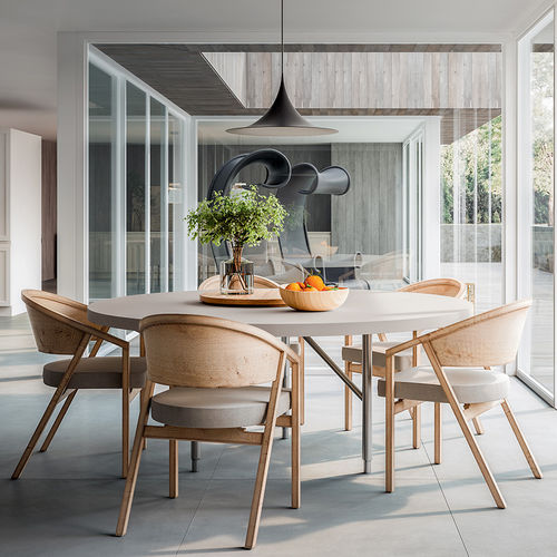 contemporary dining table / lacquered wood / rectangular / round