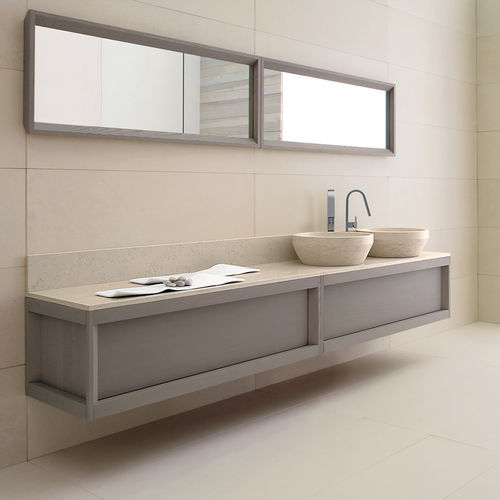double washbasin cabinet / wall-hung / free-standing / ash