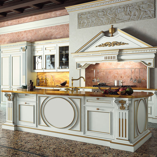 classic kitchen / lacquered wood / island / with handles